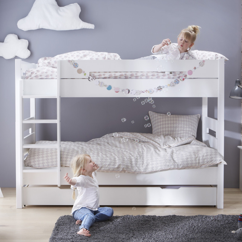 Lit superpos avec sommiers blanc 90x190 tomablcm01 - Lits superposes 90x190 ...