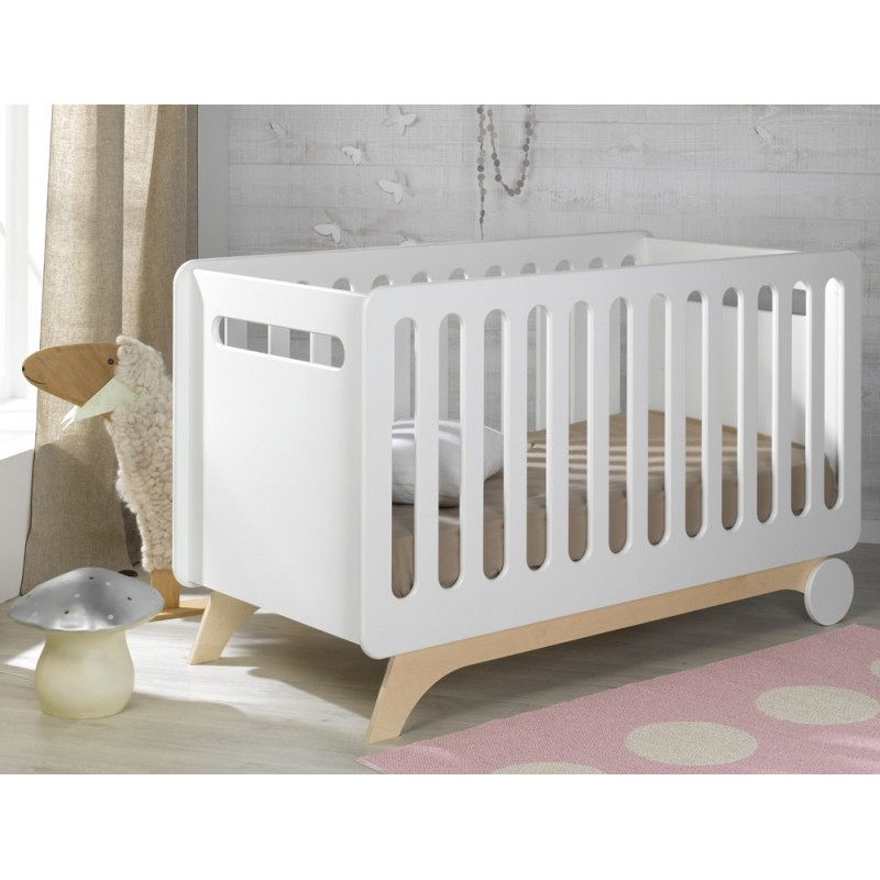 Lit bébé évolutif 70x140 blanc/bouleau Victoire