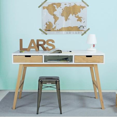 bureau 2 tiroirs gaspard blanc/bois