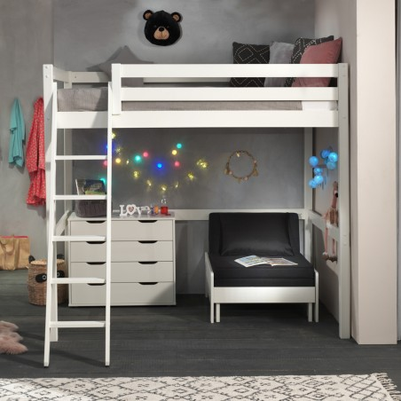 pack mezzanine bed armchair chest of drawers white