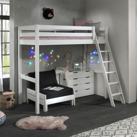 pack mezzanine bed armchair chest of drawers white 2