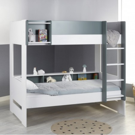 Bunk bed with storage space magnus white green