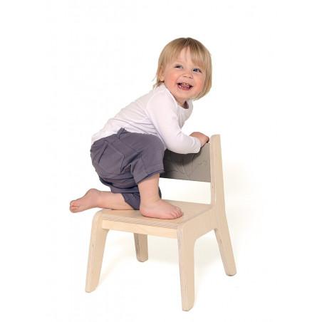 chaise enfant bois naturel/cacaco