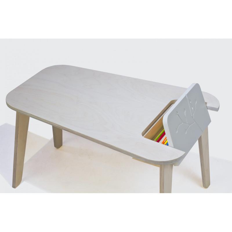 table en bois naturel/blanc