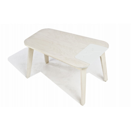 table en bois naturel/blanc