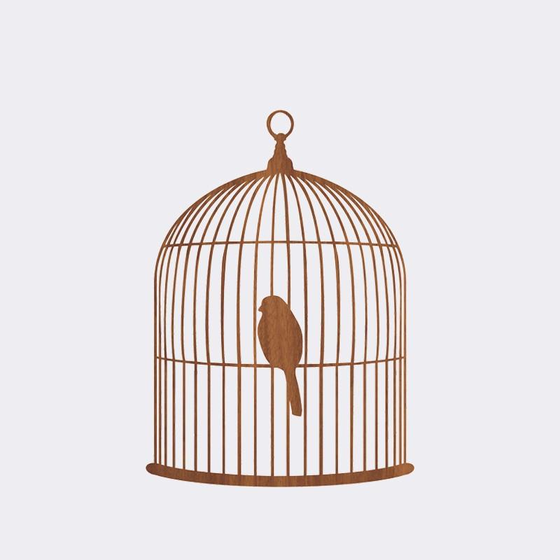 Silhouette cage à oiseau 35x50