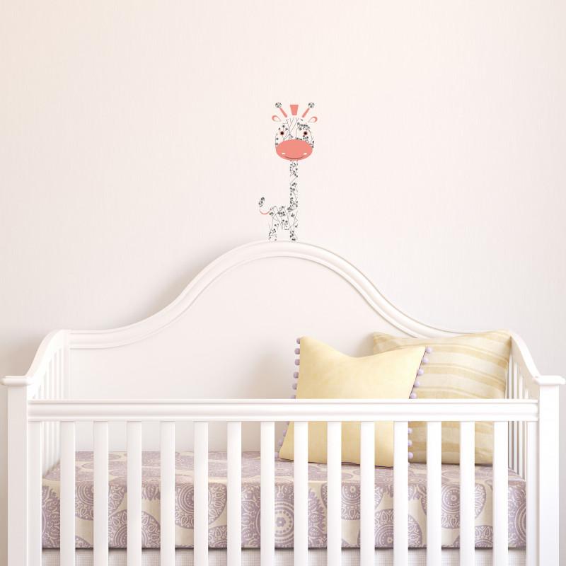 sticker mural petit girafe rose