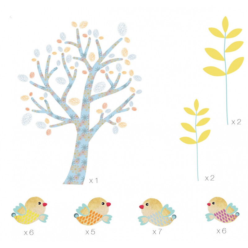 sticlker mural arbre et oiseaux pour chambre enfant