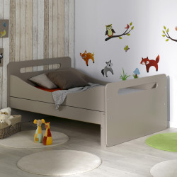 lit volutif pour enfant avec sommier couleur lin 90x140 190. Black Bedroom Furniture Sets. Home Design Ideas