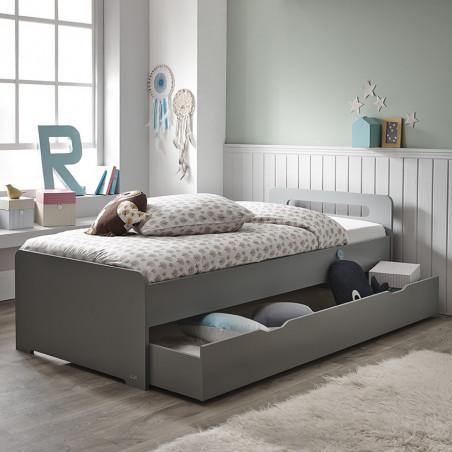 tiroir de rangement pour lit enfant gris