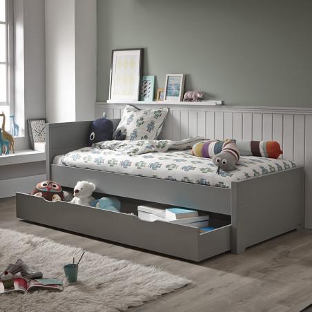 lit enfant 90x200 gris