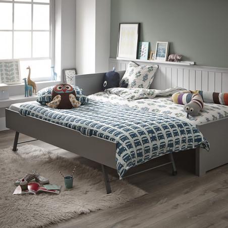 Lit chambre gigogne enfant avec sommiers couleur gris