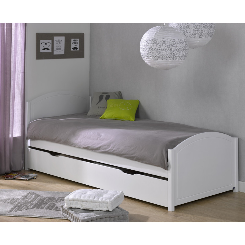 lit enfant 90x200 pin massif cl mence blanc clemblcm01. Black Bedroom Furniture Sets. Home Design Ideas