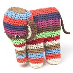 Doudou éléphanteau petites rayures multicolores