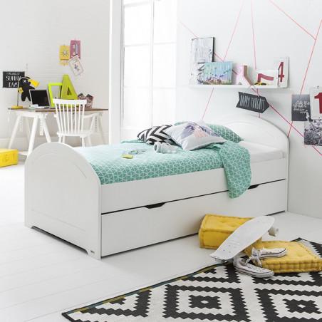 lit gigogne avec son sommier blanc 90x200cm