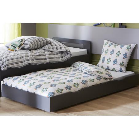 tiroir de lit taupe pour rangement ou lit gigogne 90x200