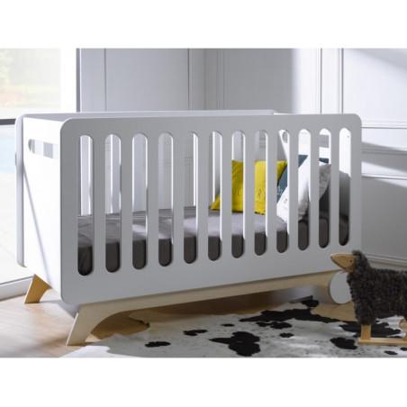 Lit 70x140 évolutif pour bébé couleur blanc/bouleau