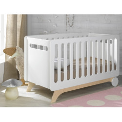lit bébé évolutif 70x140 couleur blanc/bouleau