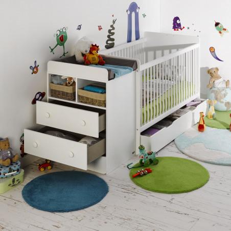 Lit bébé avec tiroir de rangement couleur blanc 70x140