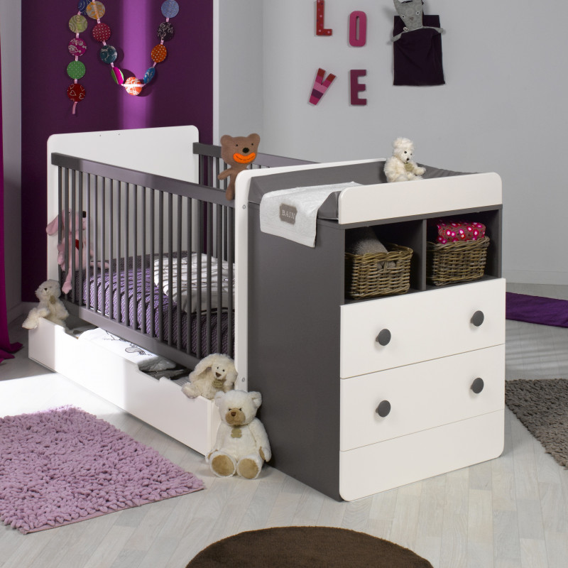 lit bebe evolutif avec tiroir blanc taupe 70x140. Black Bedroom Furniture Sets. Home Design Ideas