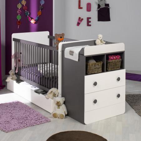 Lit évolutif blanc taupe pour bébé avec tiroir