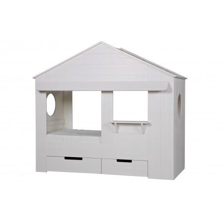 Lit cabane blanc et tiroirs Alfred et Compagnie