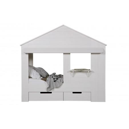 Lit cabane enfant blanc avec tiroirs