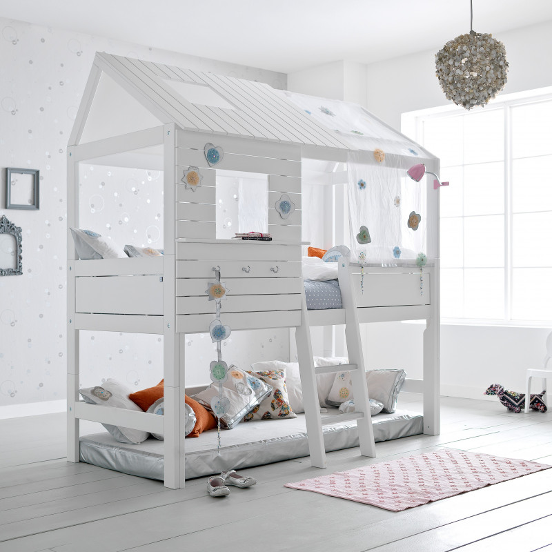lit cabane haut fille 90x200 blanc emilie. Black Bedroom Furniture Sets. Home Design Ideas