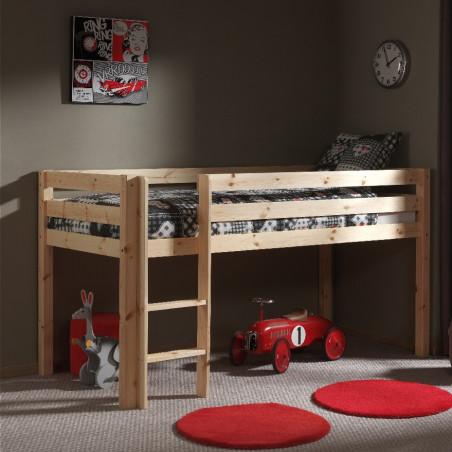 lit mi-hauteur enfant 90x200 en pin