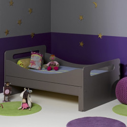 lit volutif pour enfant avec sommier taupe 90x140 190. Black Bedroom Furniture Sets. Home Design Ideas