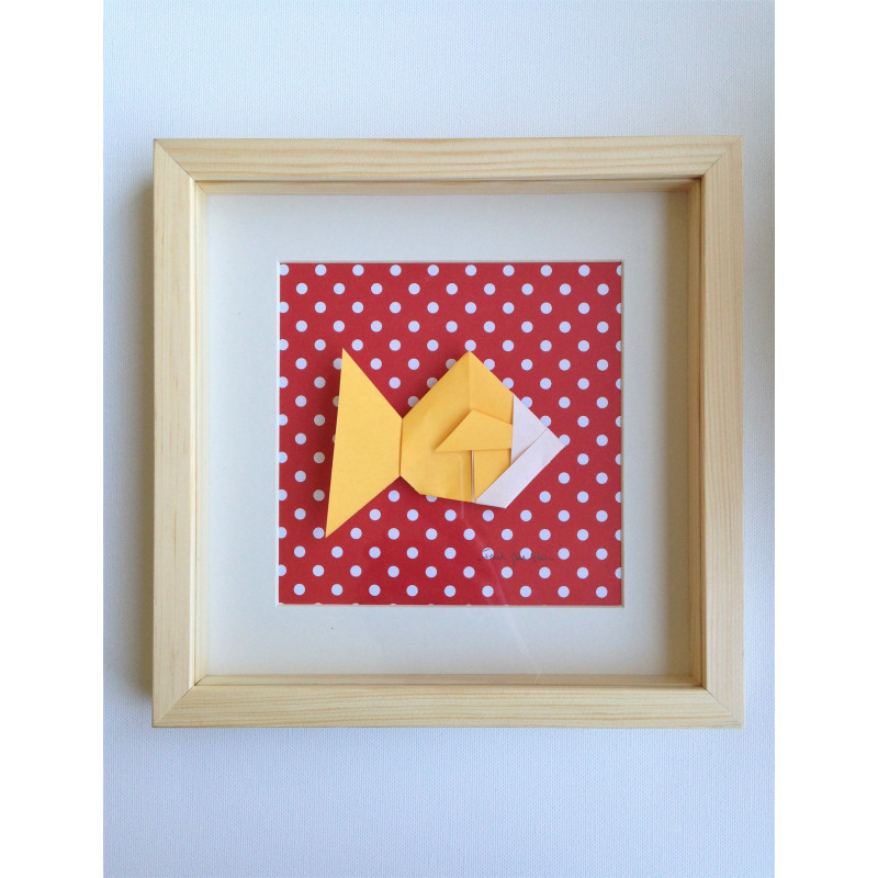 Cadre origami poisson jaune et rouge 20x20cm