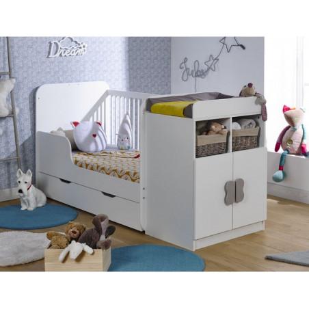 Lit évolutif pour bébé avec rangements coloris blanc 70x140
