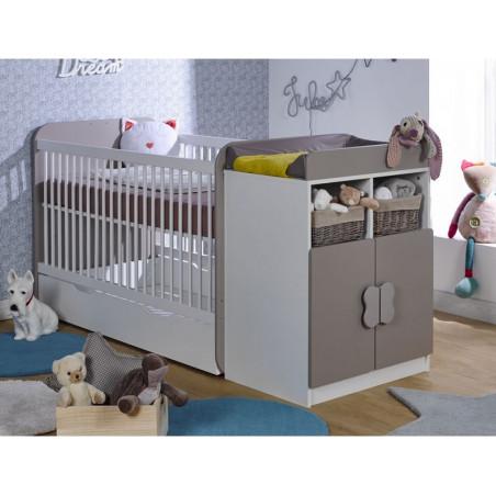 Lit bébé évolutif à barreaux avec plan à langer 70x140
