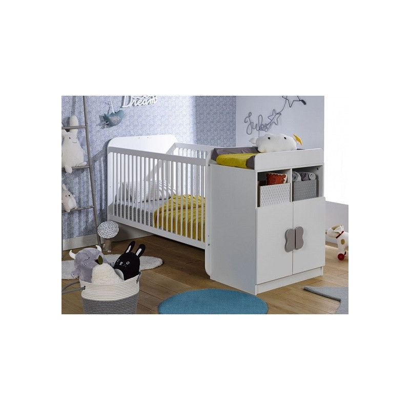 Lit bébé évolutif 70x140 couleur blanc avec barreaux et plan à langer