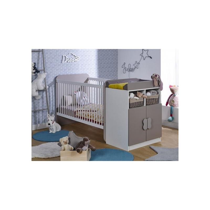 Lit bébé évolutif MATHIS Blanc/ Lin 70x140