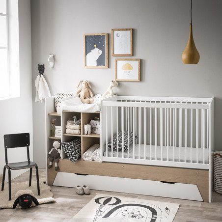 Lit bébé blanc combiné évolutif