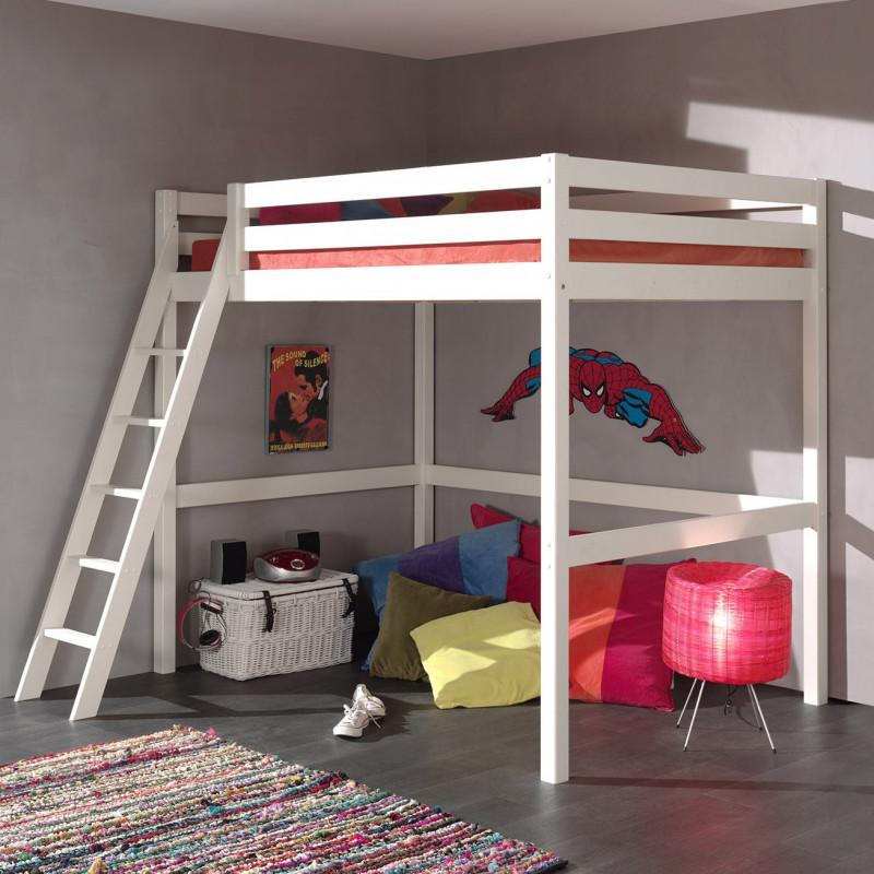 lit mezzanine h190 140x200 chelle inclin e pin armance faustin blanc armablcm01w. Black Bedroom Furniture Sets. Home Design Ideas