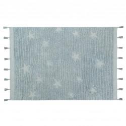 Tapis 120x175 coton lavable étoile bleu