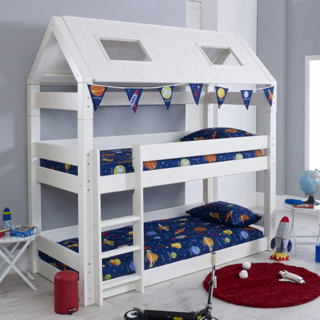 lit superposé cabane 90x200 blanc