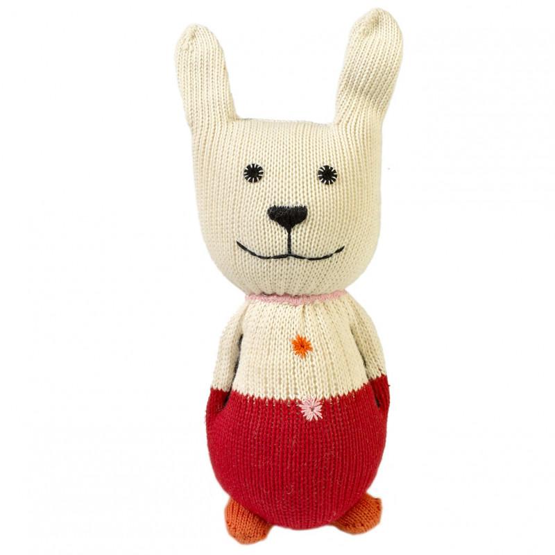 Doudou lapin rouge