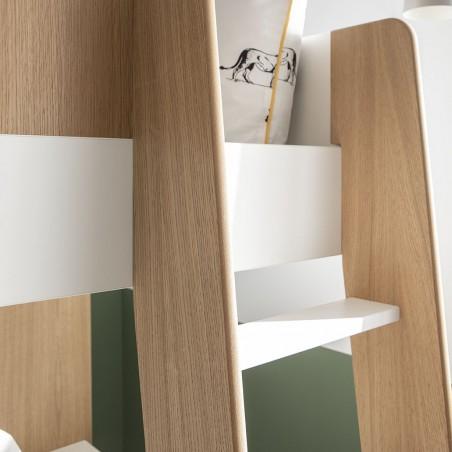 échelle lit mezzanine magnus blanc/chêne