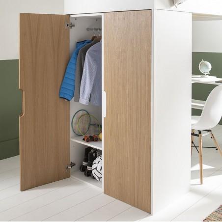 armoire du lit mezzanine magnus blanc/chêne