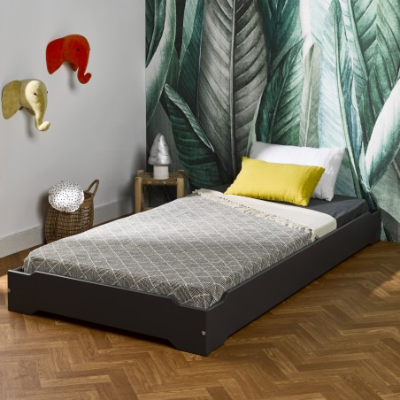 Lit empilable pin massif 90x190 LUCAS anthracite, Couleur...