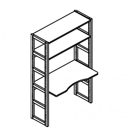 Module 2 étagères 100cm + bureau, Couleur Blanc, L106, l,...