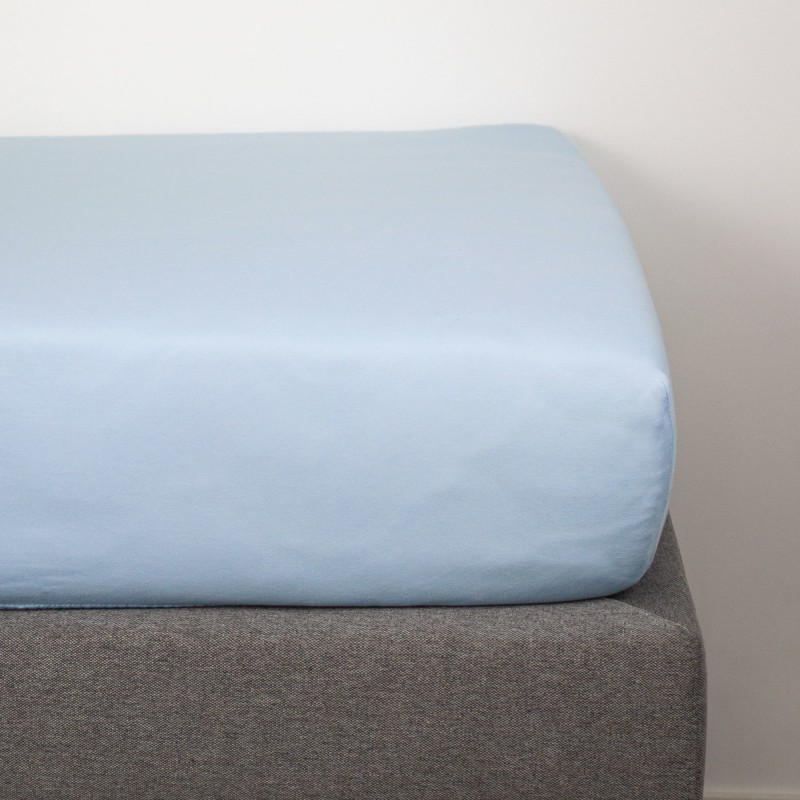 pastel blue organic cotton fitted sheet 90x190