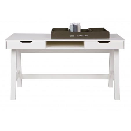bureau en pin 2 tiroirs blanc