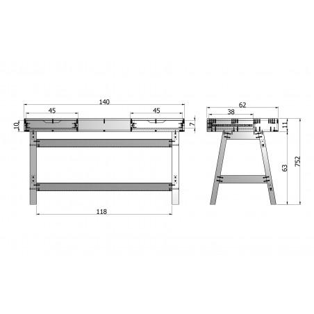 schéma bureau en pin 2 tiroirs blanc