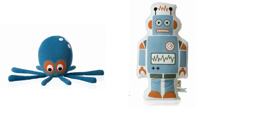 objets déco enfant pieuvre et robot