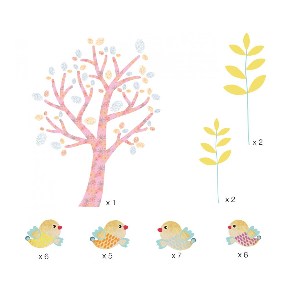 stickers mini arbre et oiseaux bleus